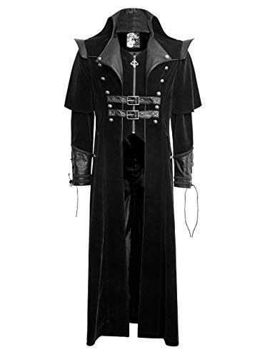 Punk Rave Gothic Herren Mantel Langer Mantel Vintage Nieten Winter Mantel Jacke Cool Trenchcoat L