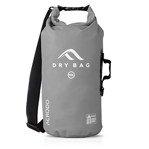 Acrodo Waterproof Dry Bag - Gray 20 Liter Floating Sack for Beach, Kayaking, Swimming, Boating, Camping, Travel & Gifts