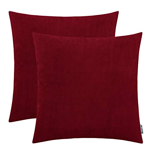 HWY 50 Decorative Square Throw Pillow Covers Soft Comfortable Velvet Solid Burgundy Wine Red Pillows Covers Set Cushion Cases for Couch Sofa Bedroom 18 x 18 inch Pack of 2, Farmhouse Home Decor