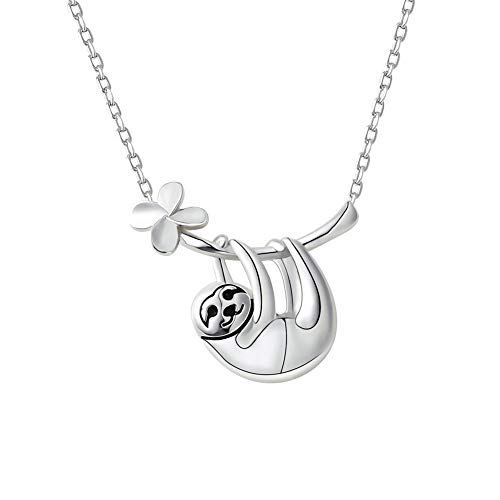 FRIUSATE Sloth Necklace, 925 Sterling Silver Cute Pendant Necklace Animal Necklace Charms for Women Teens Girls Gifts