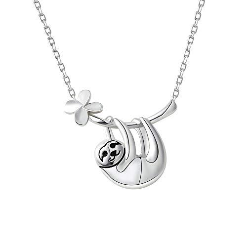 Bolonbi Faultier-Halskette, 925er-Sterlingsilber, niedlicher Anhänger, Halskette mit Tier-Anhänger, Halsketten-Charm als Geschenk für Damen, Jugendliche, Mädchen