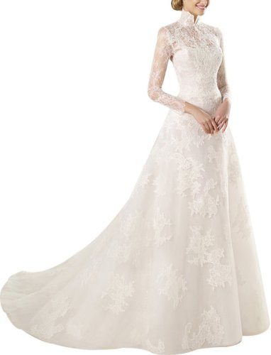 Neck White Long Lace Sleeves Beads Veil Train Wedding Dress Prom Gown