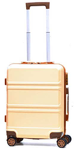 DK Luggage Starlite ABS Cabin 20' Hardshell Suitcase 4 Wheel Spinner with Tan Trimming White