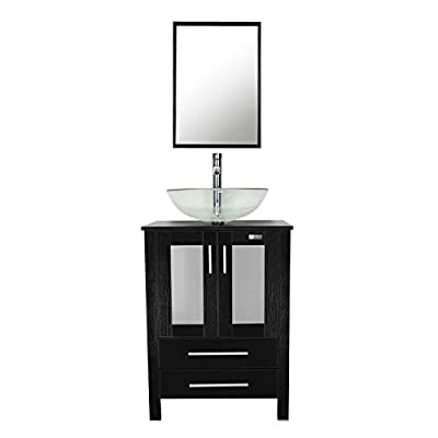 """eclife 24"""" Bathroom Vanity and Sink Combo Black Cabinet Round Clear Tempered Glass Vessel Sink & 1.5 GPM Chrome Water Save Faucet & Pop Up Drain,with Mirror (A16B02)"""