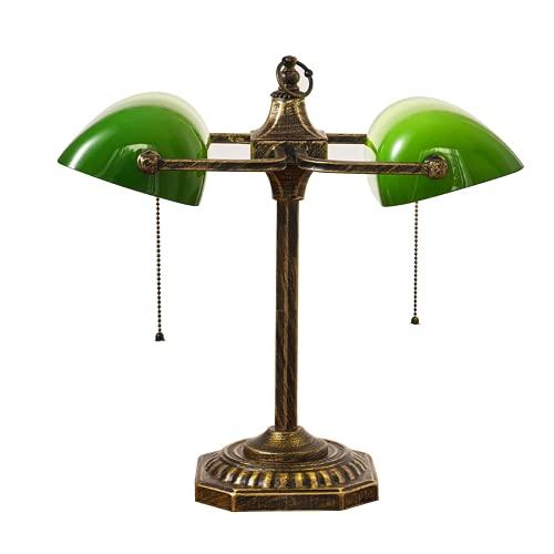 DIMPLEYA Lámpara De Oficina Lámpara De Escritorio De Estilo Retro con Shade De Vidrio Verde Interruptor De Pull Y Base De Aleación para Su Habitación De Oficina Sala De Aprendizaje De Sala De Estar