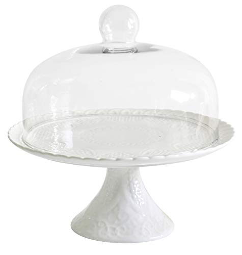 Jusalpha 12 Inches White Porcelain Decorative Cake Stand-Cupcake Stand (CS01 - Glass dome)