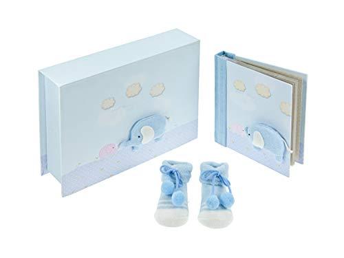 Mousehouse Gifts Baby jongen cadeau blauw olifant herinneringsdoos met baby fotoalbum