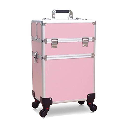 MQSS Mallette de Maquillage Beauty Case Trolley à Maquillage Bijoux Coffret cosmétique Boîte à Maquillage Professionnelle (Noir et Rose) 2 Layers