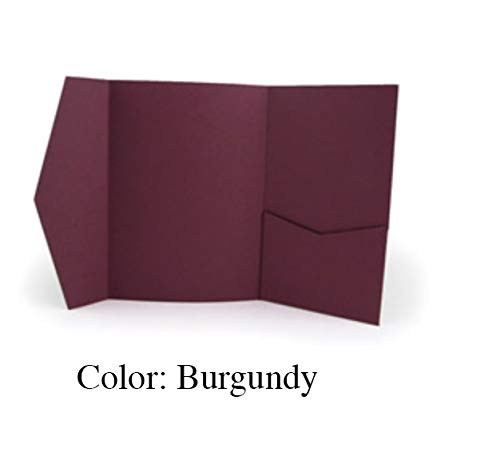 Trifold Pocket Fold Invitations (Burgundy) Pack of 20