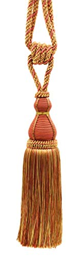 Elegant Copper, Olive Green, Light Gold Curtain & Drapery Tassel Tieback / 28cm tassel, 76cm / Spread (embrace) Style/ Style# TBH15 - Rust 07H