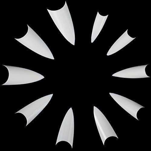 ANEWISH 500 Stück Natürliche/Weiß/Durchsichtig Farbe Künstliche Fingernägel Falsche-Fingernägel Kunstnagel Nagel Fake Nägel Nagelspitzen für DIY-Nagelkunst und Nagelstudios, 10 Größen (Natürliche)