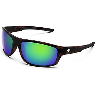 TOREGE Polarized Sports Sunglasses for Men Women Running Fishing Golf Driving Cycling Baseball TR90 Frame Glasses for Polarized UV Protection TR19 Hyperion(Matte Tortoise&Black&Green Lens)