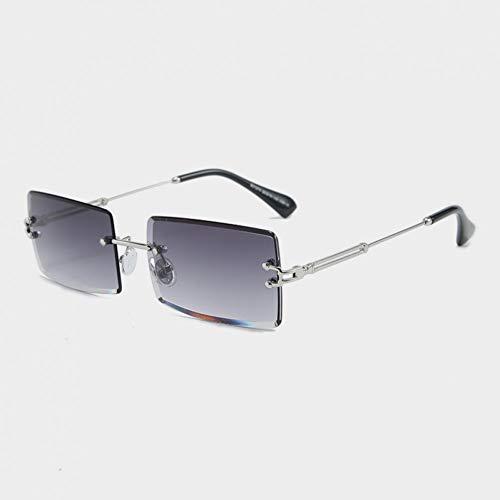 NoNo SUNCAL Mode Randlose Sonnenbrille Frauen Trendy Kleine Rechteck Sonnenbrille Sommer Travelling Style Uv400 Gold Brown Shades Für Männer-C1Sliver Grey