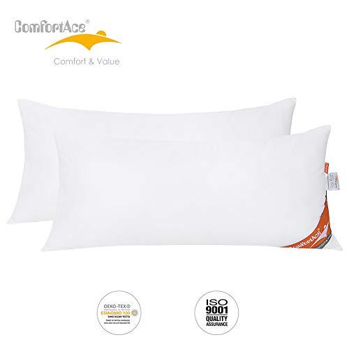 ComfortAce® Cervantes 40x80 cm Hochwertiges 2er Set Kopfkissen,Kissen mit Bezug aus Baumwolle,Softes Gewebe und Atmungsaktiv Mikrofaser Füllung,Anti-Milben Allergikergeeignet Waschbar,Weiß MEHRWEG