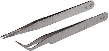 Sonline Nail 2 X acero inoxidable del arte del clavo de las pinzas de herramientas Piedras Gems pestanas herramienta Picking Acrilico Gel Arte