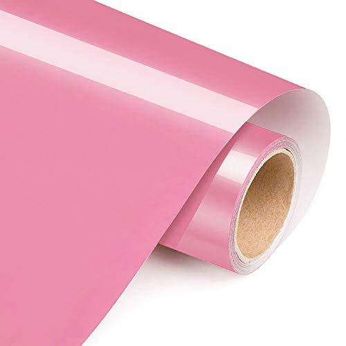 Hojas de vinilo de transferencia de calor de 30,5 cm por 5 pies de calor HTV, plancha en HTV para bricolaje camisetas, bolsa de ropa, fácil de presionar (rosa)