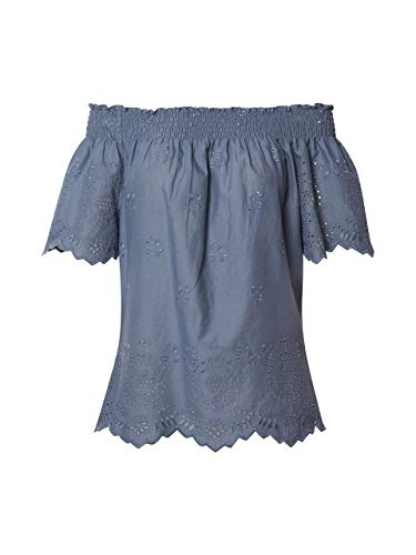 ONLY Damen Onlnew SHERY EMB ANG Off Shoulde DNM TOP Bluse, Blau (China Blue China Blue), X-Large (Herstellergröße: 42)