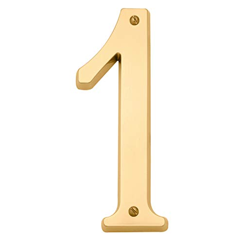 Baldwin Estate 90671.003.CD Solid Brass Traditional House Number One in Polished Brass, 4.75