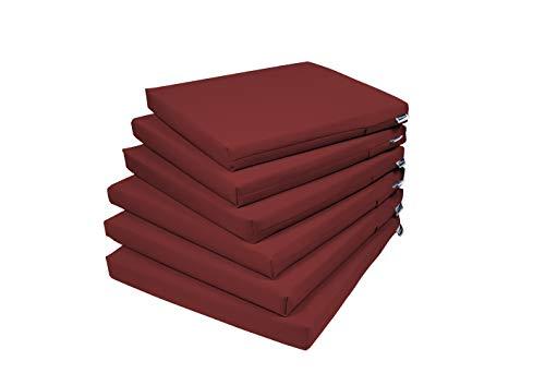 Rollmayer 6er Set Stuhlkissen Stuhlauflage Sitzkissen Sitzpolster Auflage für Stühle in Haus und Garten Kollektion Vivid (Weinrot 13, 40x40x4cm)