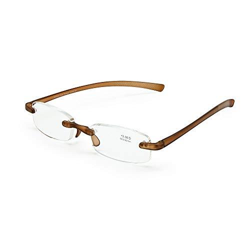 EnzoDate Leesbril Zonder Montuur, Flexibele Presbyopiebril, Ultralichte TR90-tempel Buigbare Zaklezer Heren Dames
