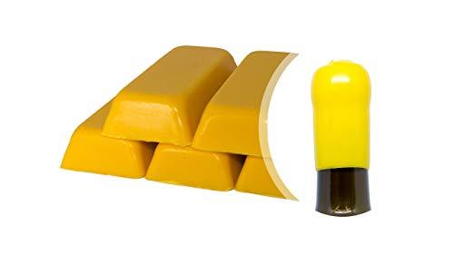 Boîte de 500 g. Cire Souple Jaune pour sceller bouteilles de vin, bière, eau-de-vie, liqueur (Jaune, 500)