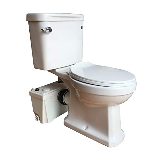 Sanimove 500W Macerator Pump Toilet Three Piece Round Bowl Toilet with Macerating Pump Macerating Upflush Toilet Kit Macerating Toilet