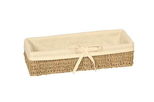 Home-ever Narrow Rectangle Seagrass Basket lined