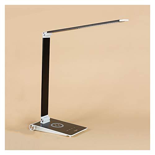 lámpara de mesita de noche Lámpara de escritorio plegable Lámpara de escritorio con 5 brillo Dimmer y 3 modos de color Control táctil Luz de lectura con teléfono móvil inalámbrico / cargando con cable