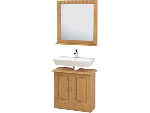 Loft24 Cheryl 2-TLG. Badmöbel Set Spiegel mit Ablage Waschbeckenunterschrank Unterschrank Badezimmerschrank Kiefer massiv gebeizt geölt