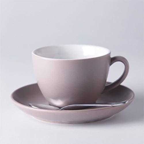 Juego de taza de café de cerámica taza de café y platillo estilo europeo Latte Cup Taza de cerámica mate taza de té negro mate taza de té mate Home restaurant hotel (color: gris)