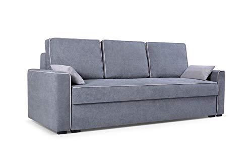 mb-moebel Sofa Couch mit Schlaffunktion und Bettkästen Wohnzimmer Schlaffsofa FLOS(Grau)