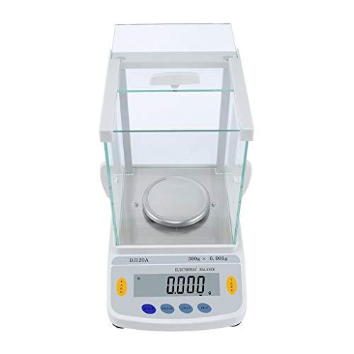 CHICTI Alta Precisión Balanza Analítica Electrónica, Báscula Laboratorio Digital 0,001g, Escala Joyería con Parabrisas Conversión 8 Unidades Pantalla LCD Pequeño (Size : 320g/0.001g)