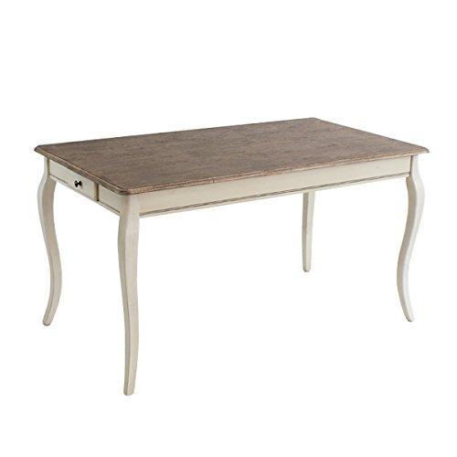 アンティーク調 ダイニングテーブル W約140.5×D約80.5×H約76.5cm ホワイト 引出し 引き出し アンティーク家具 木製 テーブル アンティーク風 アンテ