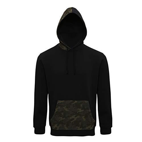 Asquith & Fox Sudadera con Capucha camuflada para Hombre Sudadera Capucha Negra - Camuflaje Negro/Verde (3XL)