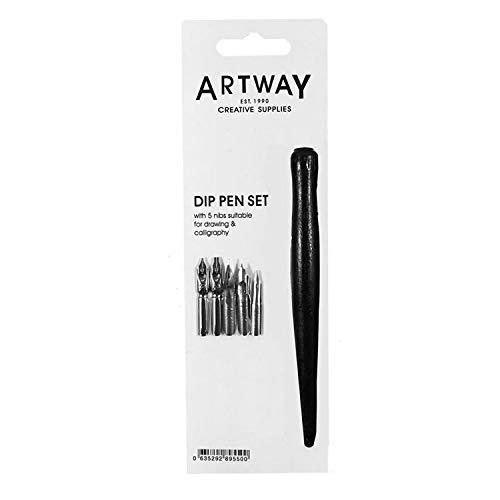 ArtWay - Pennini - 5 pennini calligrafici da Disegno - Ad Inchiostro - Manico Nero - Pezzo Singolo
