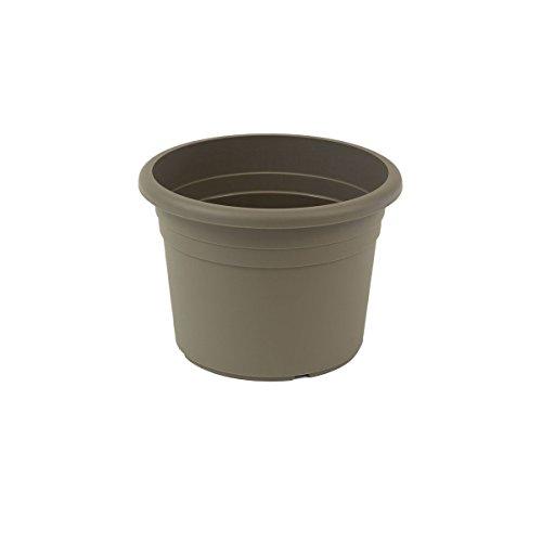 """greemotion Vaso fiori rotondo in plastica con fori """"Fiona"""", vaso per piante, ca. 2 litri, diametro ca. 20 cm, altezza ca. 14 cm, grigio talpa"""