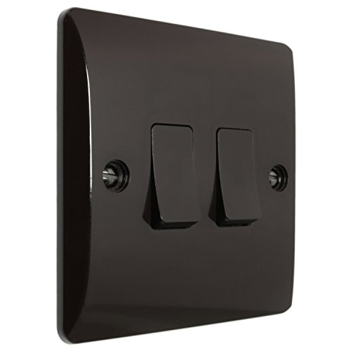 Marrone in bachelite Wall switch 2 WAY 2 Gang 10 AMP di art deco Emporium