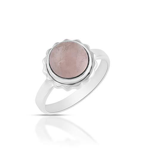 Sechi By Siblings Anillo elegante de plata de ley 925 de cuarzo rosa natural para niñas y mujeres
