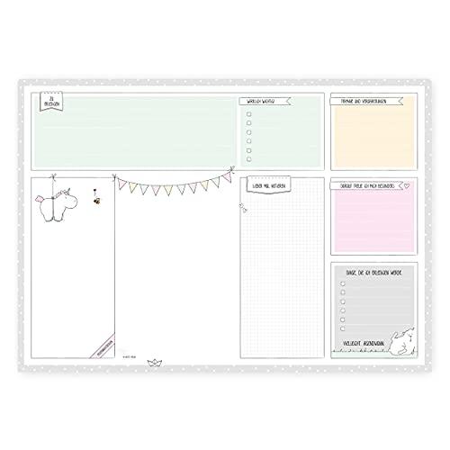 Schreibtischunterlage von Katz und Tinte, DIN A2 aus Papier zum Abreißen, 30 Blatt mit Einhorn, Abreißblock, Denkzettel, mintgrün, min,t modern, Schreibunterlage