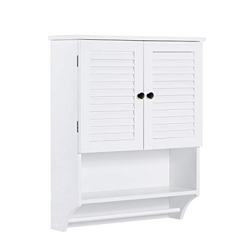 ChooChoo Bathroom Medicine Cabinet 2-Door Wall Cabinet Wood Hanging Cabinet with Adjustable Shelves and Towels Bar, White
