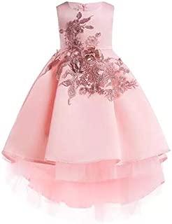 BestGift Kids Party Dresses For Girls Embroidery Princess Dress Flower Girls Wedding Dress Pink Color