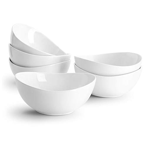 Sweese 102.001 Porcelain Bowls - 18 Ounce for Cereal, Salad, Dessert - Set of 6, White