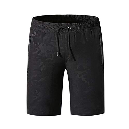 YLBH Pantalones Cortos Casuales De Verano Pantalones Cortos Deportivos De Secado RáPido Pantalones De Playa Hombres para El Verano Pantalones Cortos con CordóN Muchos Colores Negro 6XL