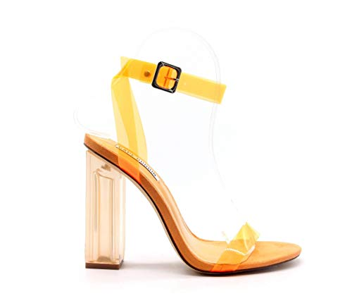 Cape Robbin Reality Clear Chunky Block High Heels for Women, Transparent Strappy Open Toe Shoes Heels for Women - Orange Size 5.5