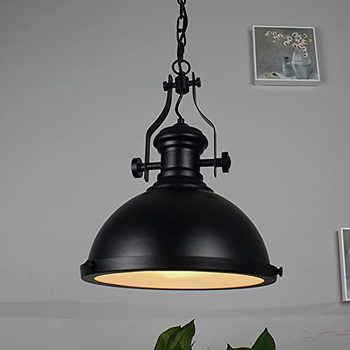 Lámpara colgante vintage, 42 cm, estilo industrial, lámpara de techo, Edison negra, cadena ajustable, de metal forjado, lámpara de iluminación para cocina, sala de estar, restaurante