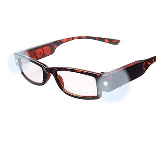 Milya Unisex Lesebrille Presbyopie Brille Sehhilfe Lesehilfe mit Licht Schwarz (2,5, Schwarz+Rot)
