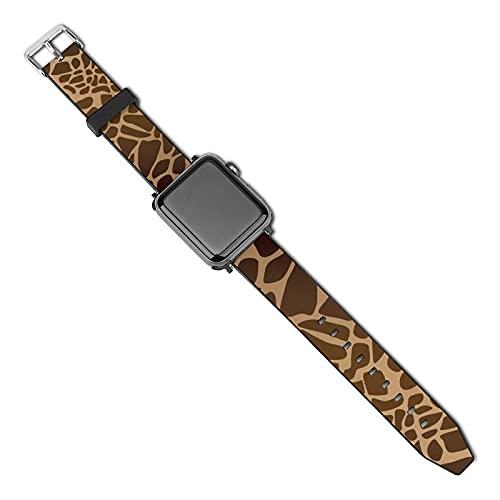 Compatible con Apple Watch Band Correa de reloj con estampado de jirafa de 38 mm y 40 mm para mujeres, hombres, niñas y niños, correa de repuesto de piel sintética para iWatch ries 5 4 3 2 1