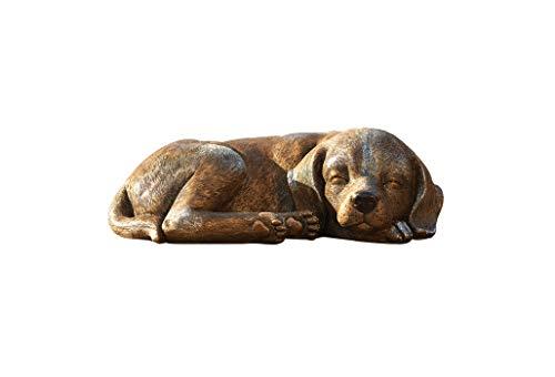Roman Garten-Statue, schlafender Hund, 3,25 h, Gartenkollektion, Kunstharz und Stein, dekorativ, Gartengeschenk, Außendekoration, langlebig, bronzefarben