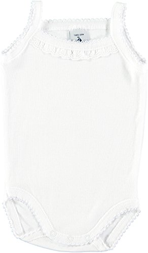 BABIDU 1145 Body Tirante Fino Tira Bordada 1x1 Ropa de Bautizo, Blanco (Blanco 1), 62 (Tamaño del Fabricante:3) Unisex bebé