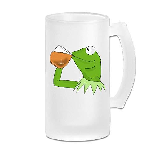 DJNGN Gedruckte 16oz Milchglas Bier Stein Tasse Tasse Printed 16oz Frosted Glass Beer Stein Mug Cup Kermit The Frog Sipping Tea Graphic Mug